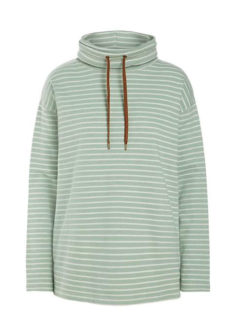 Chaps Petite Jacquard Dante Long Sleeve Knit Top