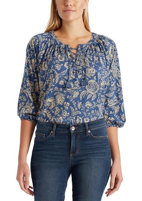 Chaps Petite 3/4 Sleeve Cotton Modal Jersey Knit
