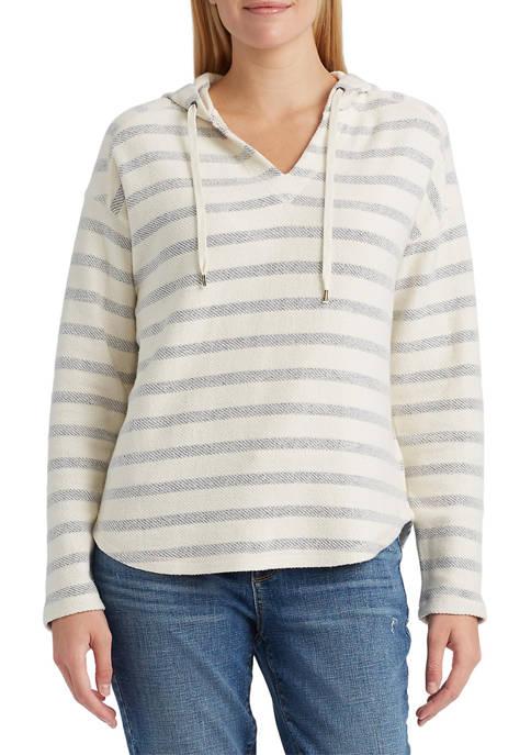 Chaps Petite Long Sleeve Knit Stripe Hoodie