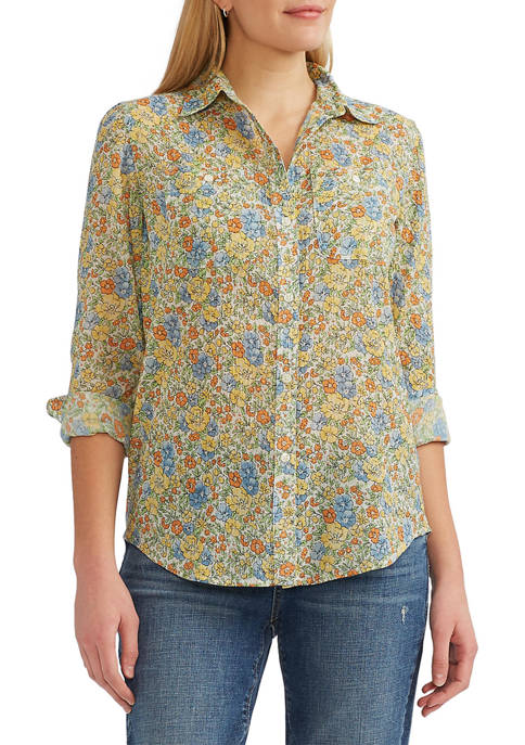 Chaps Petite Cotton Crinkle 3/4 Sleeve Button Front