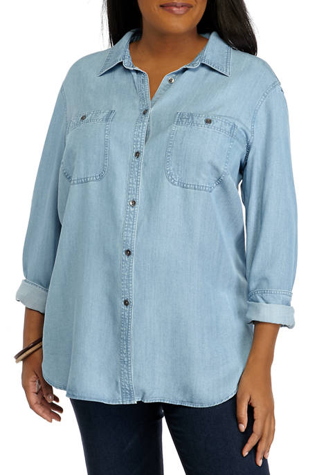 Plus Size Long Sleeve Denim Button Down Shirt