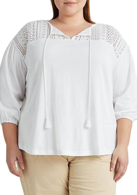 Chaps Plus Size Lace Yoke Jersey Top