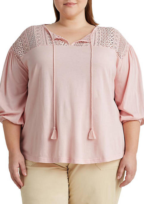 Chaps Plus Size Lace Shoulder Peasant Top