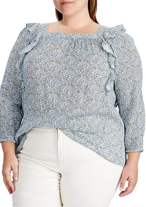 Plus Size Floral Ruffled Top