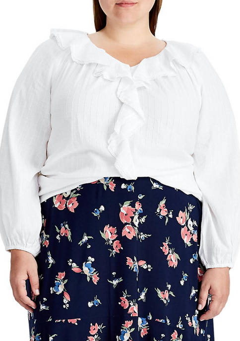 Chaps Plus Size Ruffled Top