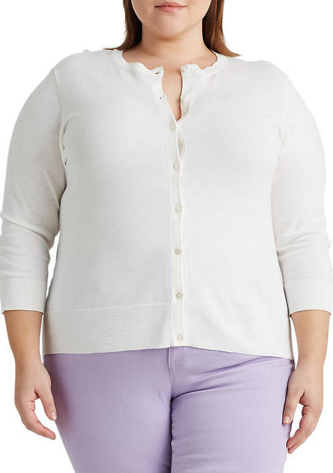 Chaps Plus Size Molly 3/4 Sleeve Button Cardigan