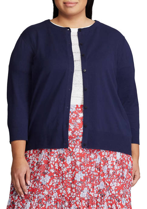 Chaps Plus Size Combed Cotton Cardigan