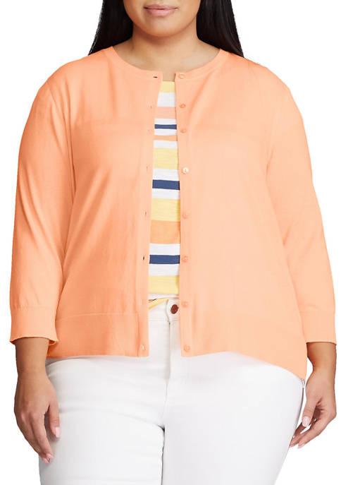 Chaps Plus Size Cotton Crewneck Cardigan