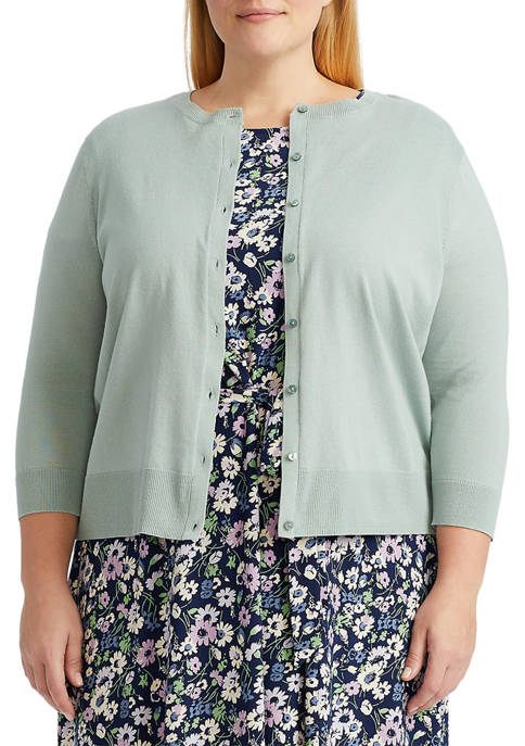 Chaps Plus Size Combed Cotton Cardigan