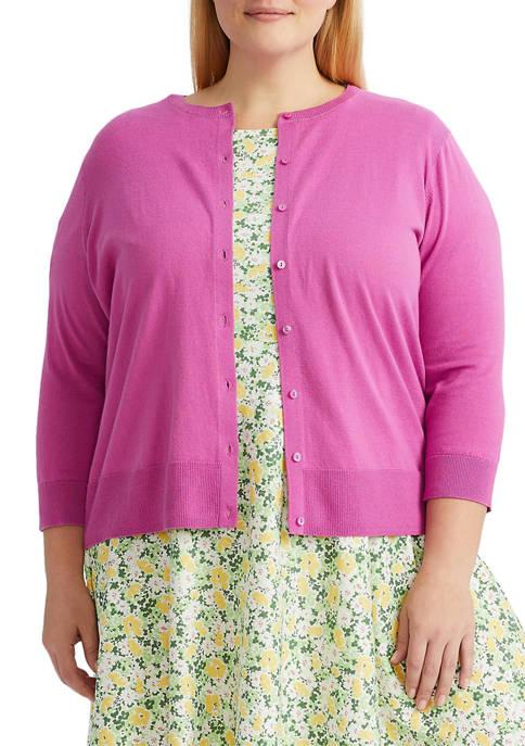 Chaps Plus Size 3/4 Sleeve Cardigan