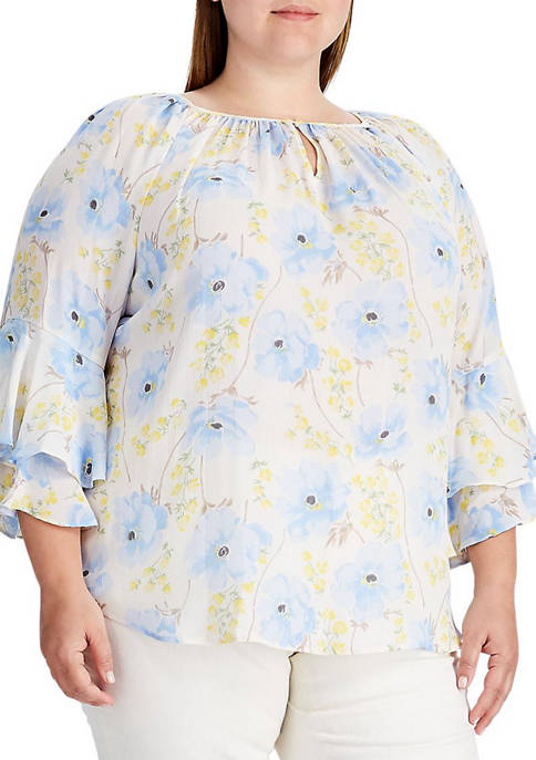 Chaps Plus Size Printed Georgette Top