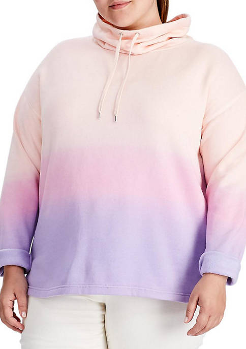 Chaps Plus Size Remy Funnel Neck Dip Dye