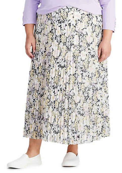 Chaps Plus Size Floral Georgette Skirt