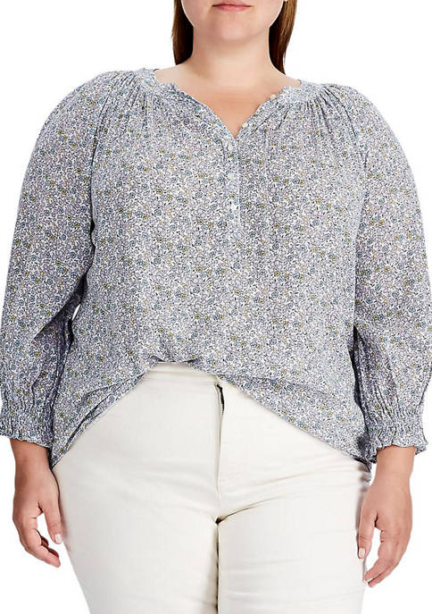 Chaps Plus Size Printed Crinkled Top