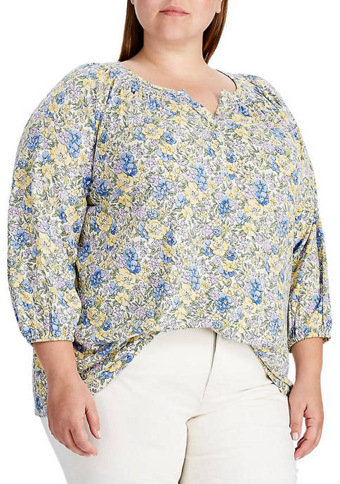 Chaps Plus Size Floral Peasant Knit Top