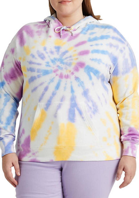 Chaps Plus Size Tie Dye French Terry Hoodie
