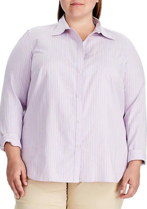Chaps Plus Size Striped Cotton Shirt
