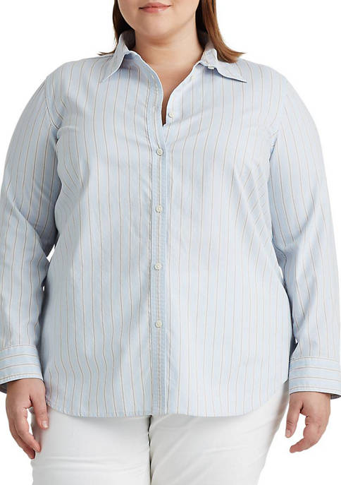 Chaps Plus Size Striped Cotton Shirt