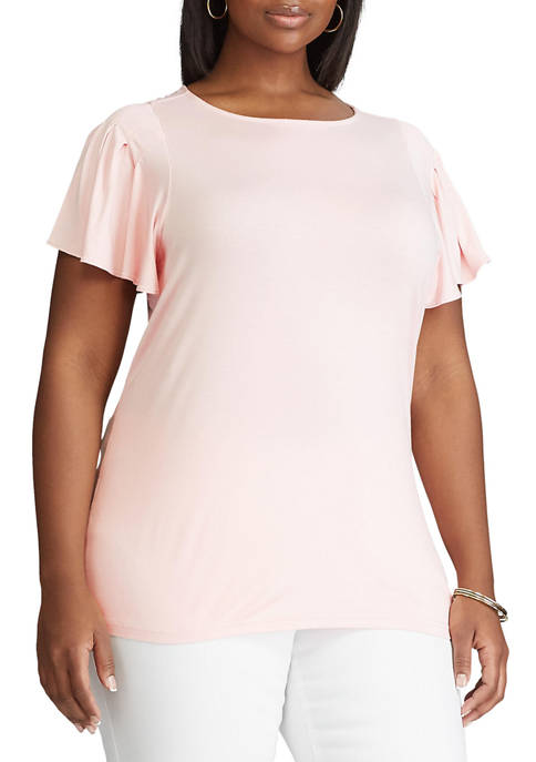Chaps Plus Size Flutter Sleeve Knit Top