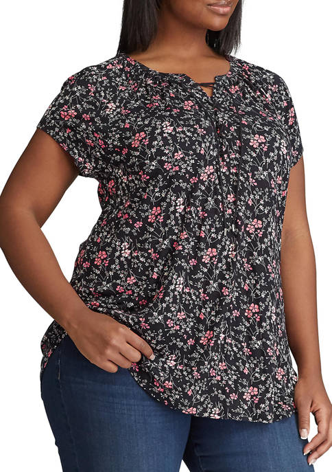 Plus Size Short Sleeve Lace Up Knit Top