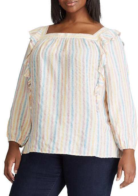 Chaps Plus Size Paige 3/4 Sleeve Woven Top