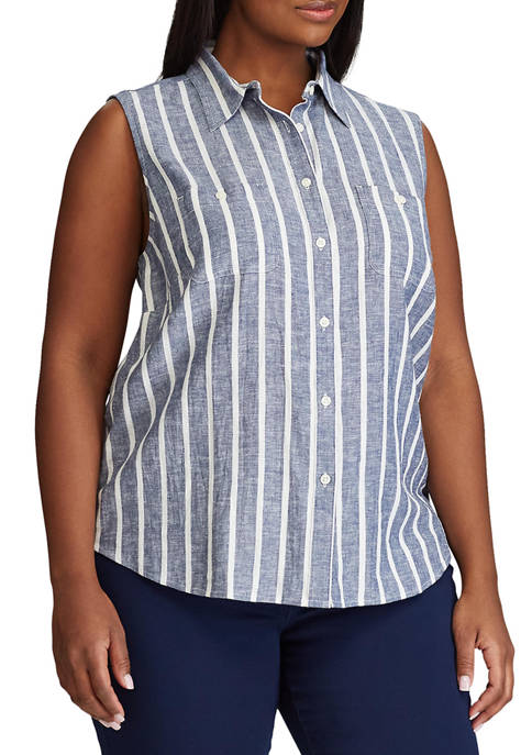 Chaps Plus Size Evans Sleeveless Shirt