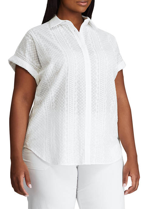 Chaps Plus Size Dolman Sleeve Button Down Shirt