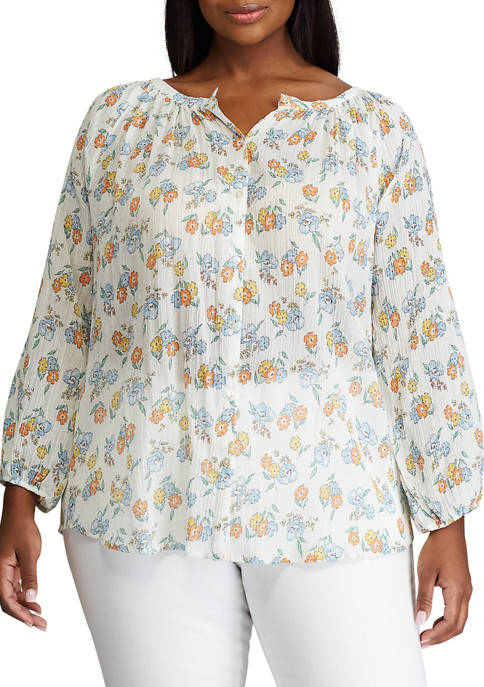 Chaps Plus Size 3/4 Sleeve Woven Blouse