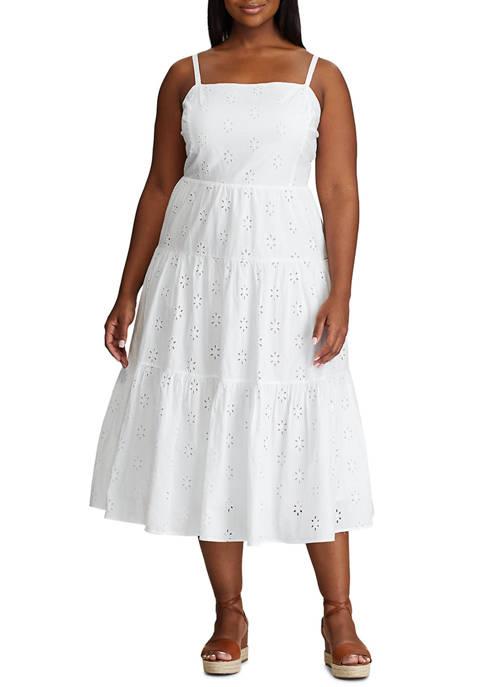 Plus Size Sleeveless Eyelet Dress