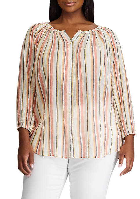 Plus Size 3/4 Sleeve Printed Cotton Top