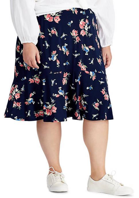 Plus Size Floral Jersey Skirt