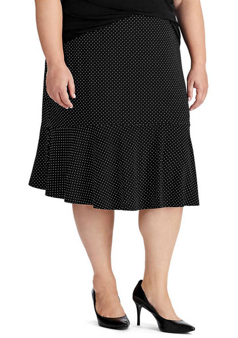 Chaps Plus Size Dot Print Jersey Skirt