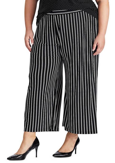 Chaps Plus Size Ralston Stripe Matte Jersey Pants