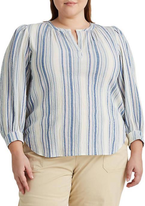 Chaps Plus Size Striped Dobby Top