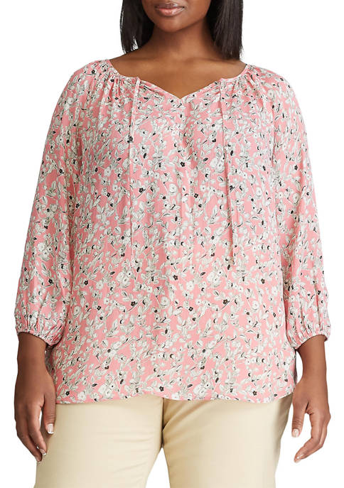 Chaps Plus Size Ana 3/4 Sleeve Woven Top