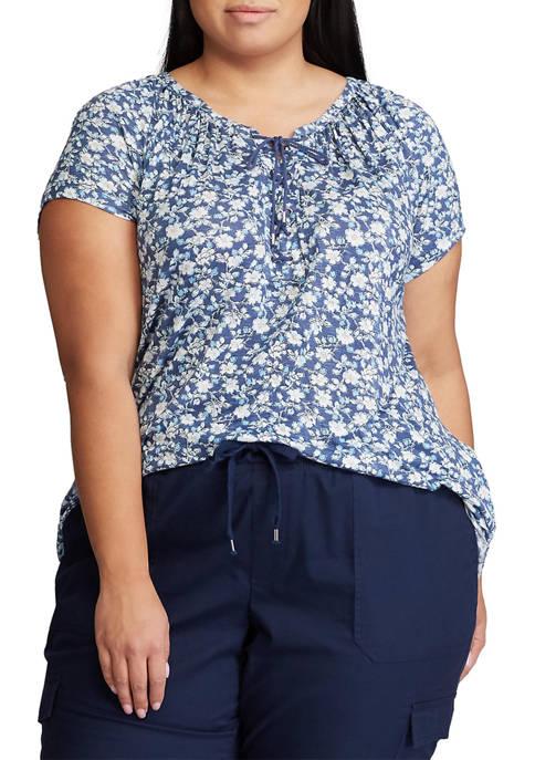 Chaps Plus Size Short Sleeve Floral Lace Up