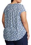 Plus Size Short Sleeve Floral Lace Up Knit Top