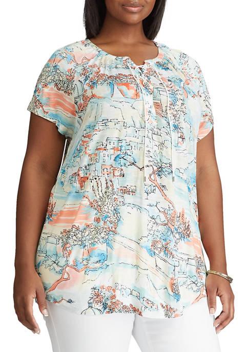 Chaps Plus Size Short Sleeve Lace Up Knit