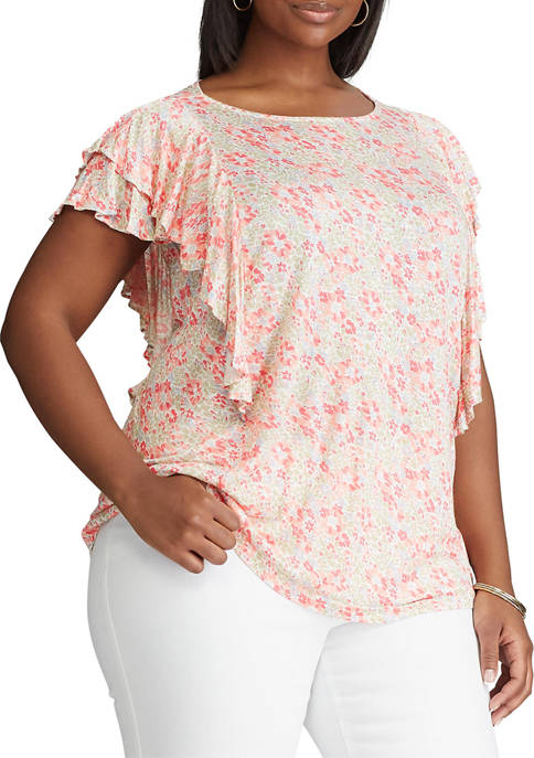 Plus Size Flutter Sleeve Knit Top