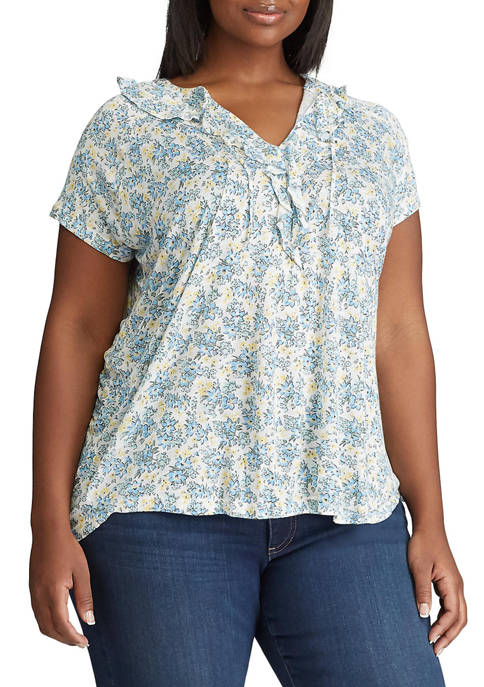 Plus Size Short Sleeve Ruffle Knit Top