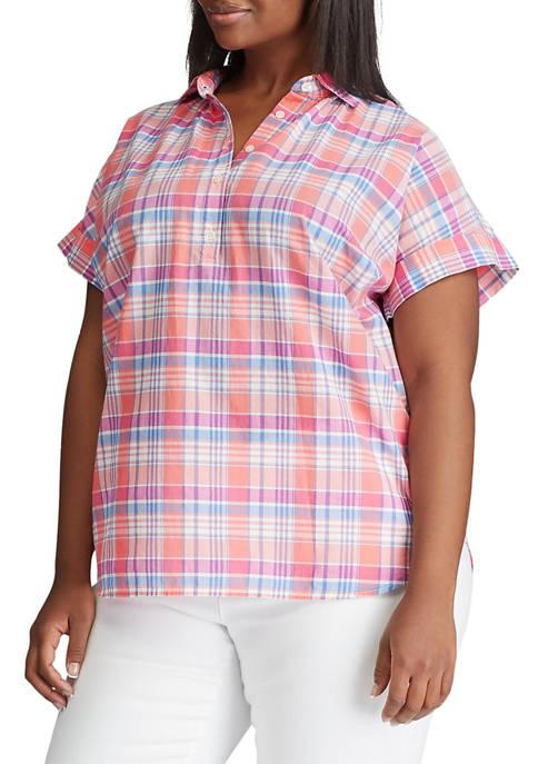 Chaps Plus Size Seymour Short Sleeve Popover Top