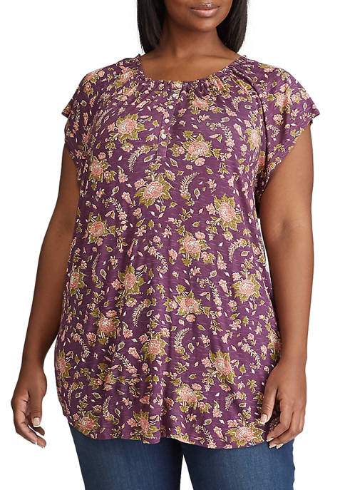 Chaps Plus Size Smocked Jersey Henley Top
