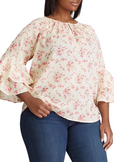 Chaps Plus Size Sullivan 3/4 Sleeve Woven Blouse