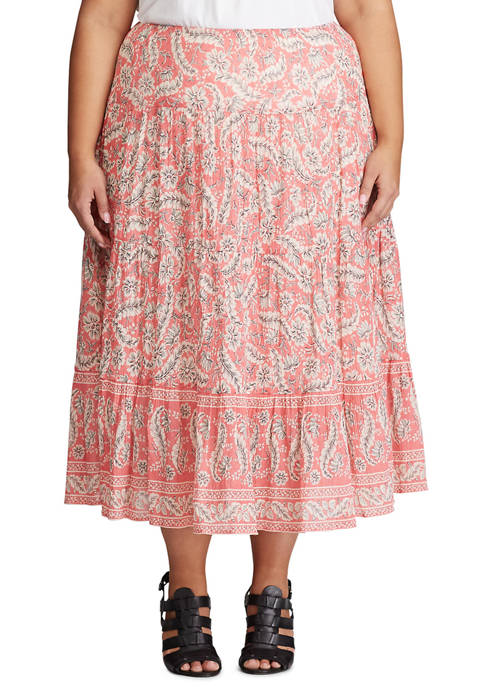 Chaps Plus Size Cotton Crinkle Skirt