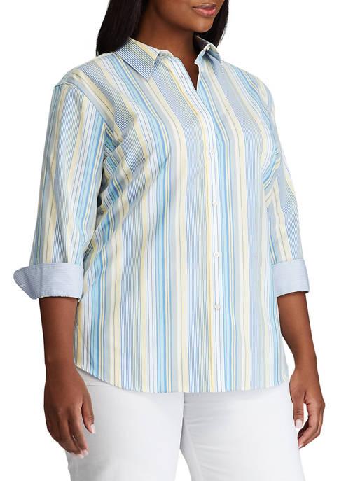 Chaps Plus Size No Iron 3/4 Sleeve Stripe