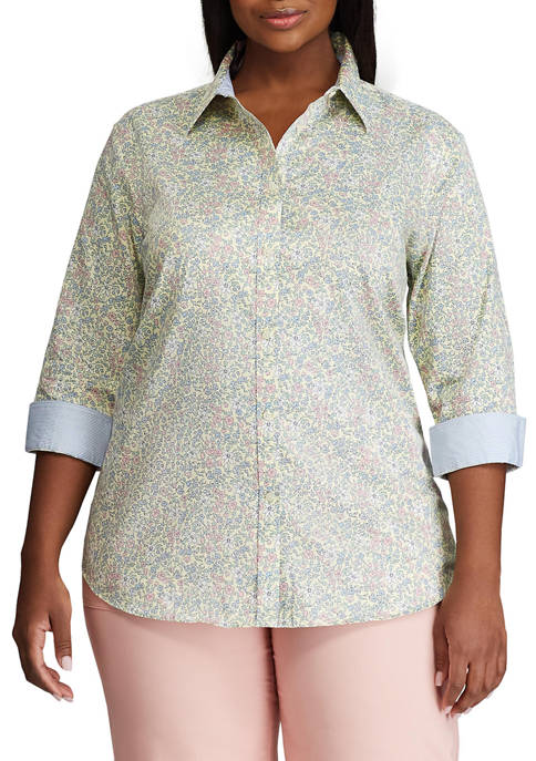 Chaps Plus Size 3/4 Sleeve Woven Button Down