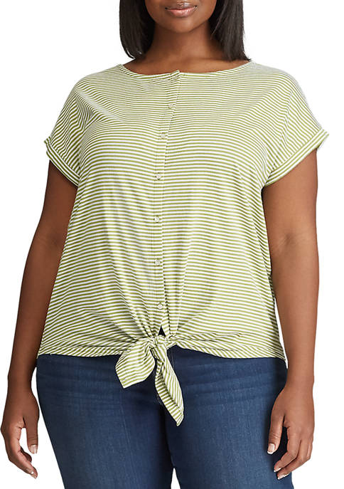 Chaps Plus Size Tie-Front Cotton-Blend Top
