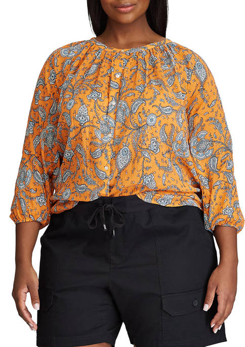 Chaps Plus Size 3/4 Sleeve Paisley Woven Top