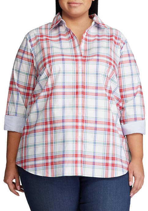 Chaps Plus Size Chatter 3/4 Sleeve Non Iron
