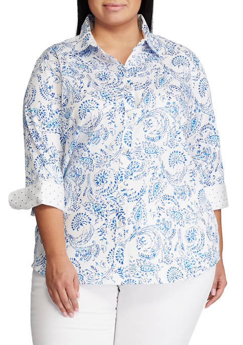 Chaps Plus Size Non Iron 3/4 Sleeve Chatter
